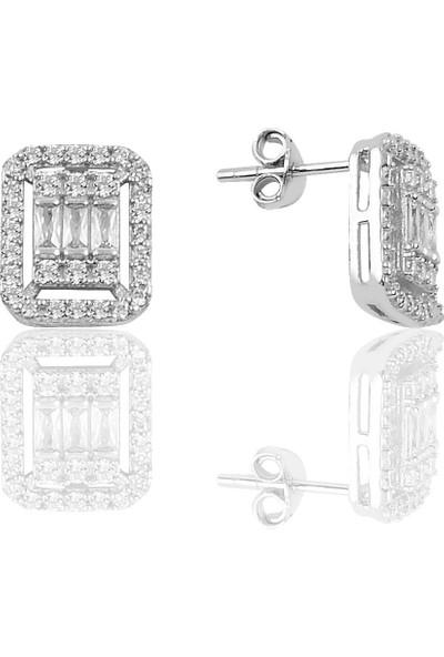 Söğütlü Si̇lver Gümüş Rodyumlu Baget Taşlı Küpe