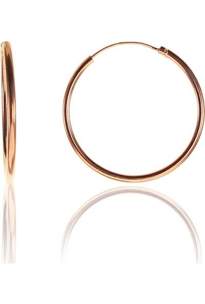 Söğütlü Si̇lver Gümüş 26 mm Rose Halka Küpe
