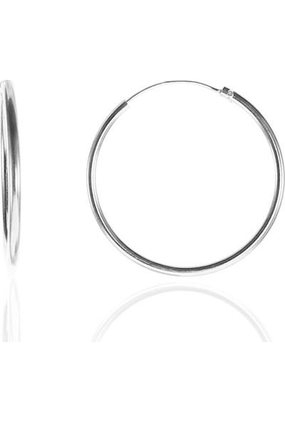 Söğütlü Si̇lver Gümüş 26 mm Rodyumlu Halka Küpe