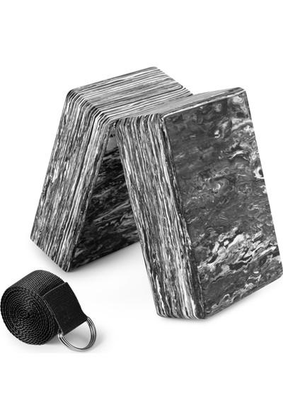 Buyfun 2'li Kamuflaj Yoga Blokları ile Yoga Kayış Eva Köpük