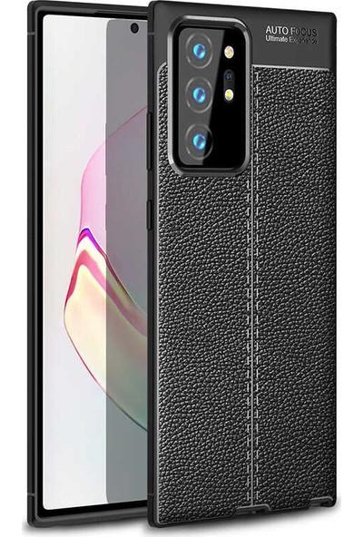 CoverZone Samsung Galaxy Note 20 Ultra Kılıf Niss Silikon Deri Görünümlü Siyah