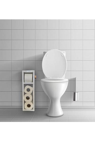 Bayz Beyaz Ahşap Tuvalet Kağıtlığı Wc Tuvalet Stand