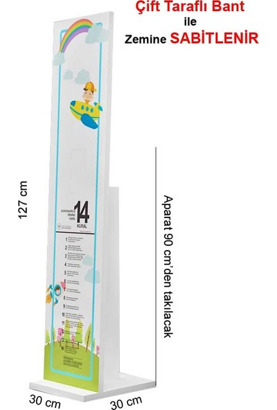 Bayz 18 mm Çocuk El Dezenfektan Standı Kol Dirsek Basmalı 127 x 30 cm