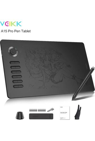 Veikk A15 Pro 8192 Levels Zoom Uyumlu 5080LPI Grafik Tablet+Kalem
