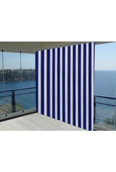 Evaşkım Balkon Perdesi Balkon Brandası Mavi Beyaz 100X150 Cm