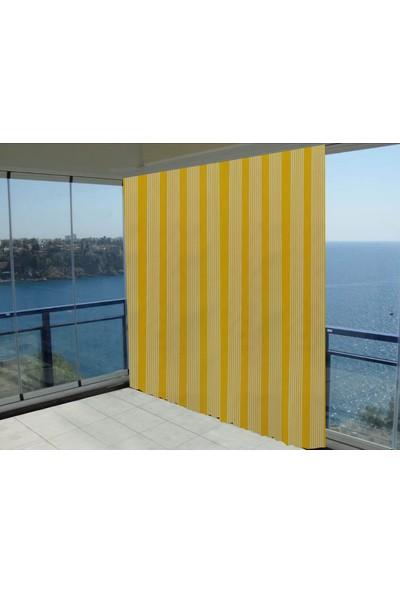Evaşkım 100X150 Cm Balkon Perdesi Balkon Brandası İnce Çizgi Sarı