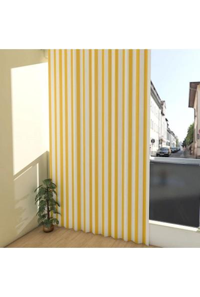 Evaşkım 180X250 Cm ''Kuş Gözü'' Balkon Perdesi Balkon Brandası Sarı Beyaz