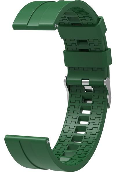 Kny Samsung Galaxy Watch 3 Bluetooth 45mm (22mm) Standart Silikon Kayış-Kordon Yeşil