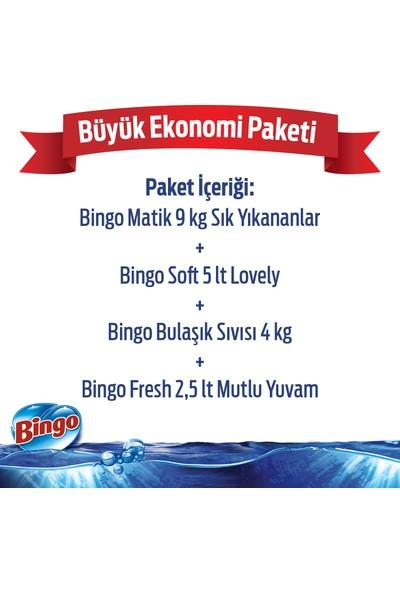 Büyük Ekonomi Paketi ; 9 kg Toz Çamaşır Deterjanı Sık Yıkananlar + Çamaşır Yumuşatıcısı 5 L Lovely + Bulaşık Sıvısı 4 kg + Yüzey Temizleyicisi 2,5 L Mutlu Yuvam
