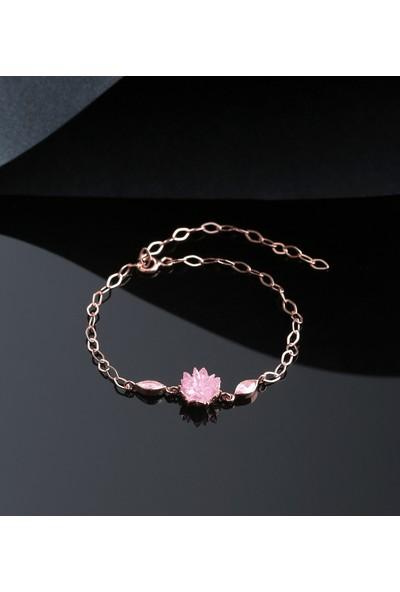 Tubiss Takı Pembe Lotus Gümüş Bileklik