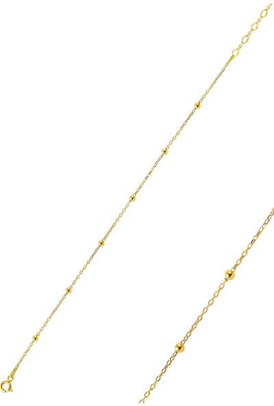 Söğütlü Silver Gümüş Altın Rengi Top Top Bileklik