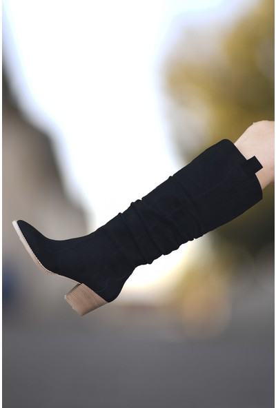 Riccon Süet Siyah Kadın Çizme 0012401