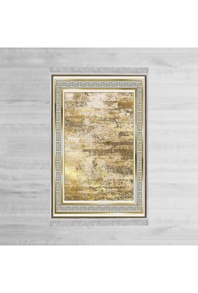Homefesto Dekoratif Özel Tasarım Pamuklu Dokuma Taban Yumuşak Dokulu Halı Siyah - Beyaz - Gold 80 x 120 cm