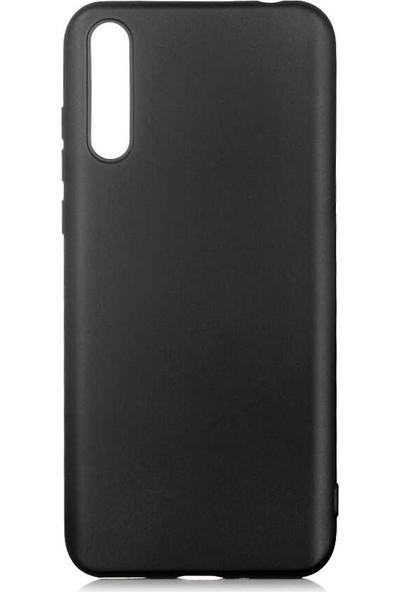 Tekno Grup Huawei P Smart S (Y8P) Kılıf Mat Premium Silikon Kılıf Siyah + Cam Ekran Koruyucu