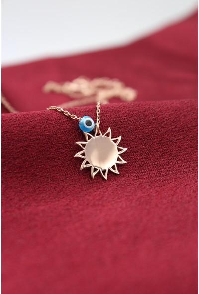 Silver & Silver Gümüş Rose Nazar Boncuklu Güneş Kolye