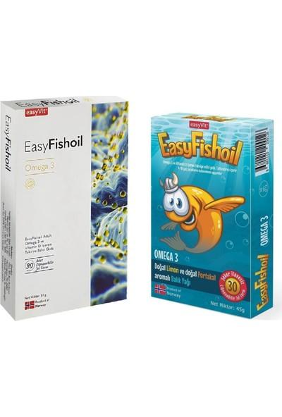 Easyvit Omega 3 ve D Vitamini 30 + 30 Tablet - Yetişkinler ve Çocuklar Için Balık Yağı Seti