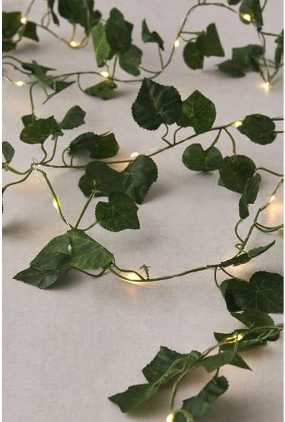 Glr Dekoratif Yeşil Yapraklı Yapay Sarmaşık Gün Işığı Sıcak Sarı LED Işık 2 mt 30 LED