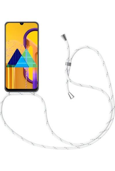 Case 4U Samsung Galaxy M30S Kılıf Boyuna Askılı İpli Silikon Arka Kapak Beyaz Siyah