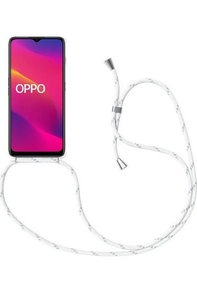 Case 4U Oppo A5 - A9 2020 Kılıf Boyuna Askılı İpli Silikon Arka Kapak Beyaz Siyah