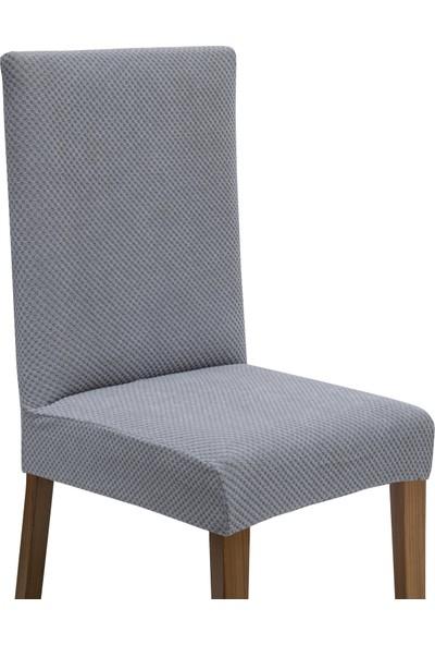 Latuda Likralı Yıkanabilir Gri Sandalye Kılıfı | Sandalye Örtüsü 4'lü