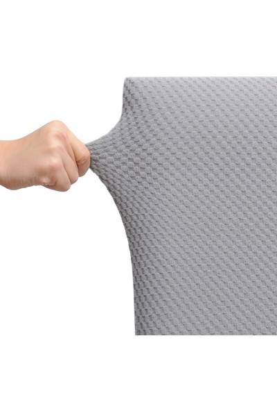 Latuda Likralı Yıkanabilir Gri Sandalye Kılıfı | Sandalye Örtüsü 6'lı