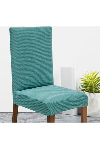 Latuda Likralı Yıkanabilir Turkuaz Sandalye Kılıfı | Sandalye Örtüsü 4'lü