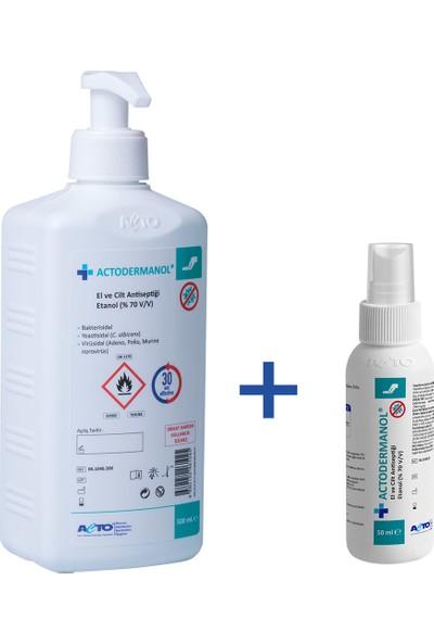 Actodermanol El ve Cilt Dezenfektanı Antiseptiği Etanol %70 500 ml + 1 Adet 50 ml Sprey