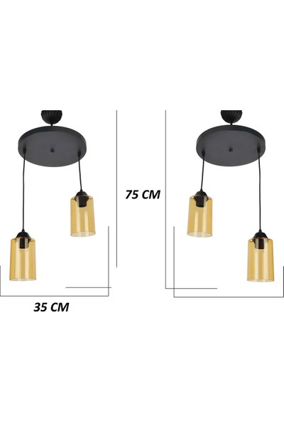 Evim Design Titan 2'li Sarkıt Camlı Siyah Ölçülü 2'li Set