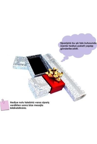 Enes Store Gümüş Safir Taşlı Bayan Kolye Küpe Seti Gümüş Kolye Set