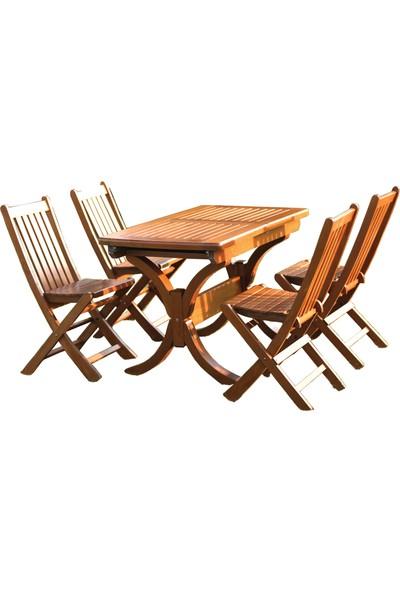 Bahçeme Avşa Ahşap Bahçe Seti Açılır Masa 4 Katlanır Sandalye Takım
