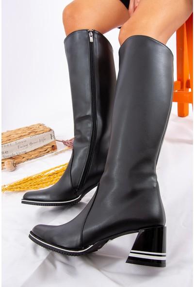 Fox Shoes Siyah/Beyaz Kadın Çizme A654252709
