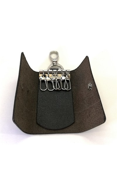 Cascades Leather Hakiki Deri Siyah Renk 6'lı Anahtarlık S1