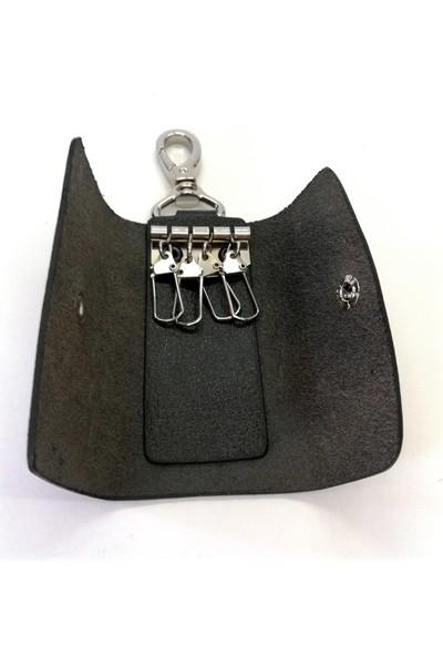 Cascades Leather Hakiki Doğal Deri Siyah Renk 4'lü Anahtarlık