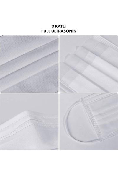 The Mask Elturko Çocuk 3 Katlı Tek Kullanımlık Burun Telli Full Ultrasonic Beyaz Renkli Cerrahi Çocuk Maskesi 100 Adet