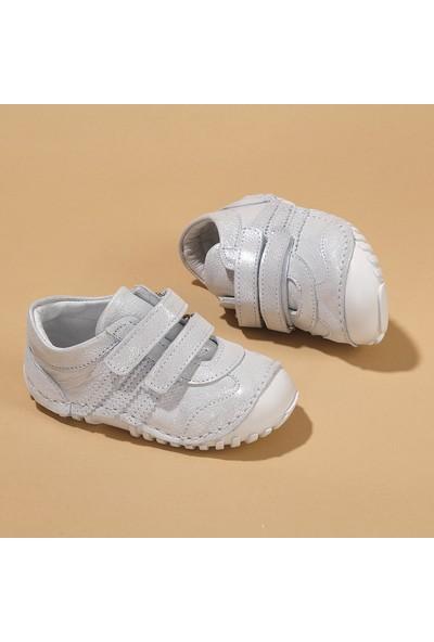 Kiko Kids Teo 138 Deri Cırtlı Kız Çocuk Ayakkabı Gümüş