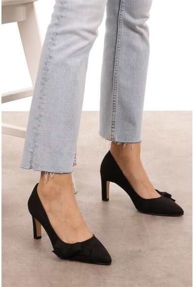 Mio Gusto Layla Siyah Süet Topuklu Ayakkabı