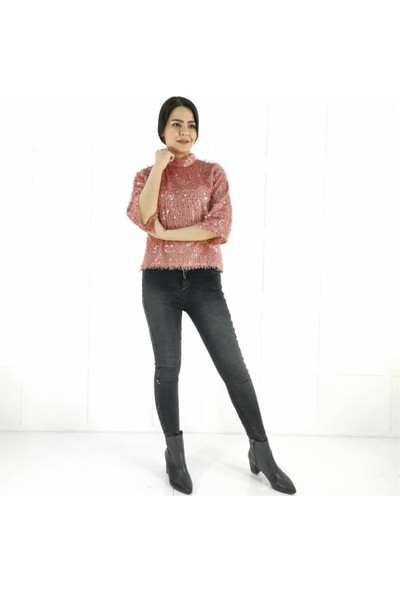 Ayriss Pullu Kadın Bluz - Pudra