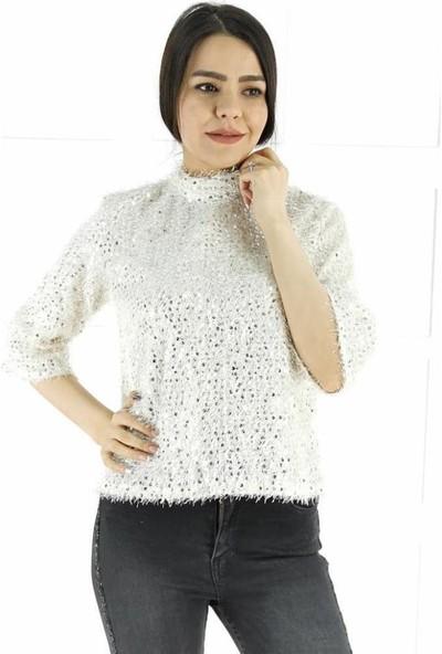 Ayriss Pullu Kadın Bluz - Beyaz