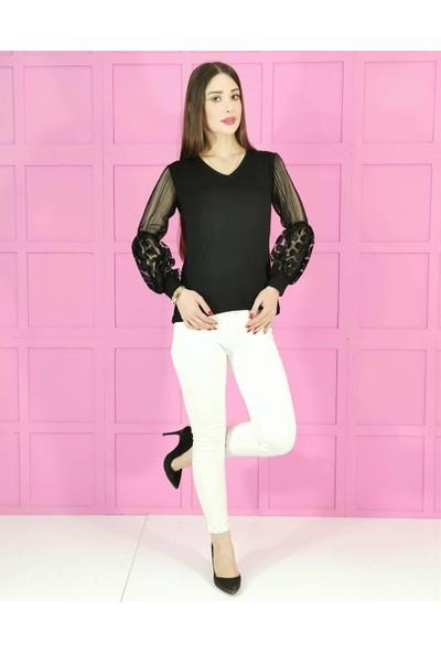 Buketli Kol Tül Yarı Balon Kadın Triko Bluz - Siyah