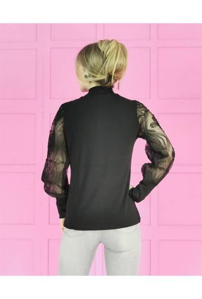 Buketli Kol Desenli Kadın Bluz - Siyah