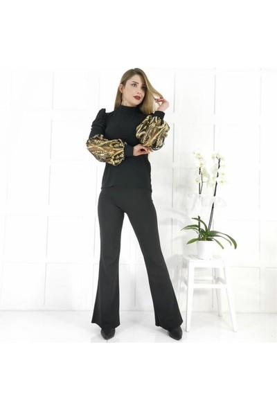 Buketli Gold Yaprak Kol Detay Kadın Bluz - Siyah