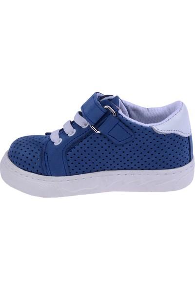 Kiko Kids Teo S-2010 Deri Cırtlı Kız/Erkek Çocuk Ayakkabı Petrol Mavi
