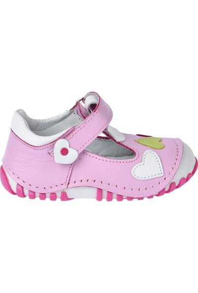 Kiko Kids Teo 105 Deri Cırtlı Kız Çocuk Ayakkabı Pudra
