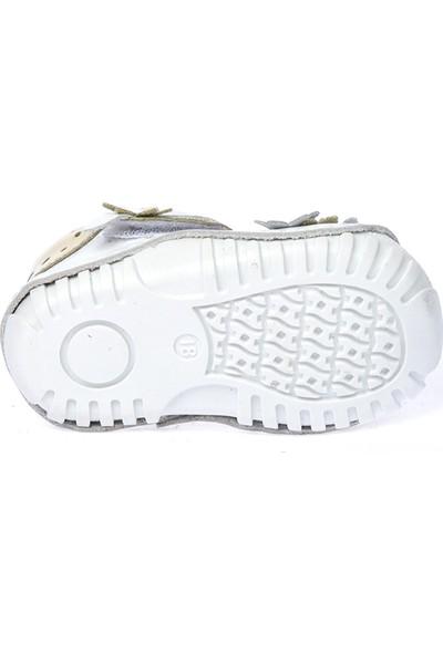 Kiko Kids Teo 119 Deri Cırtlı Kız Çocuk Ayakkabı Beyaz Altın