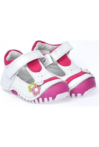 Kiko Kids Teo 130 Deri Cırtlı Kız Çocuk Ayakkabı Beyaz Fuşya