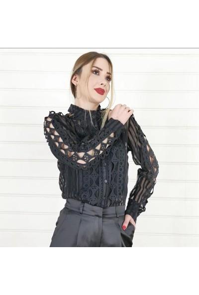 Ayriss Dantel Desenli Kadın Bluz - Siyah