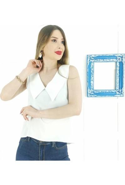 Ayriss V Yaka Detay Kadın Bluz - Ekru