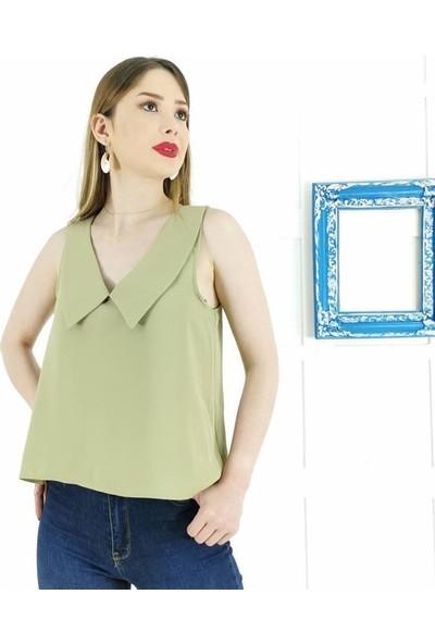 Ayriss V Yaka Detay Kadın Bluz - Mint
