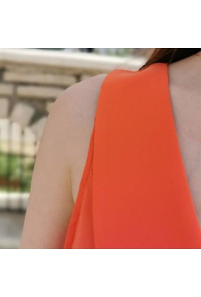 Ayriss V Yaka Detay Kadın Bluz - Nar