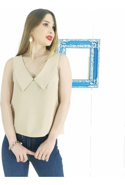 Ayriss V Yaka Detay Kadın Bluz - Vizon
